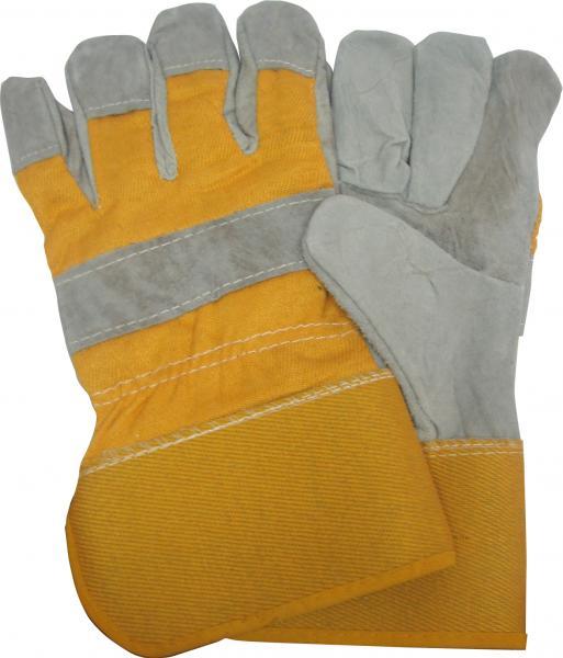 כפפות בד-עור מחוזק עם מגן ורידים צהוב