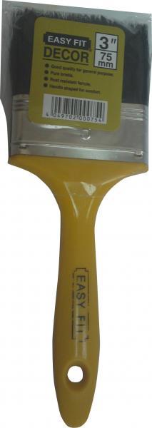 """מברשת צבע """"3 ידית פלסטיק צהובה שיער שחור EASY FIT"""