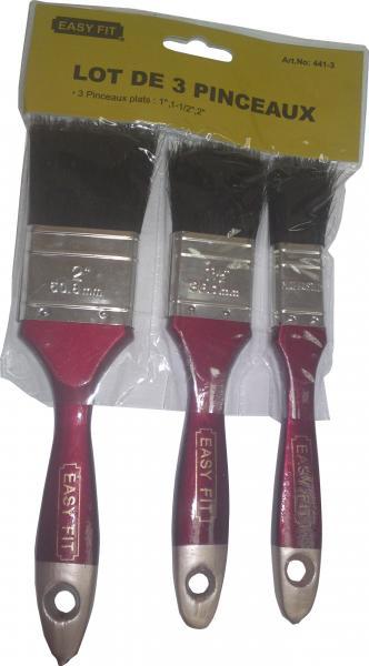 סט מברשות צבע 3 יח' 441 ידית עץ שיער שחור  EASY-FIT